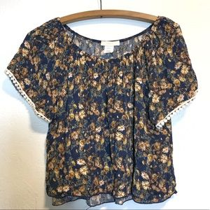 Poetry Floral Boho Crop Top Women's Large